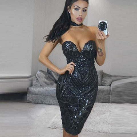 Exquisite Sequined V Neck Evening Dress