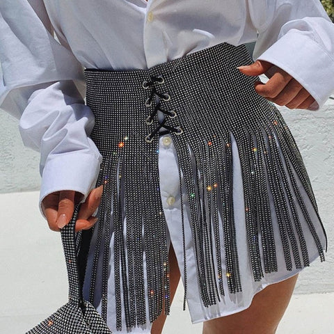 Look But Dont Touch - Luxury Glitter Metal Crystal Diamonds Skirt