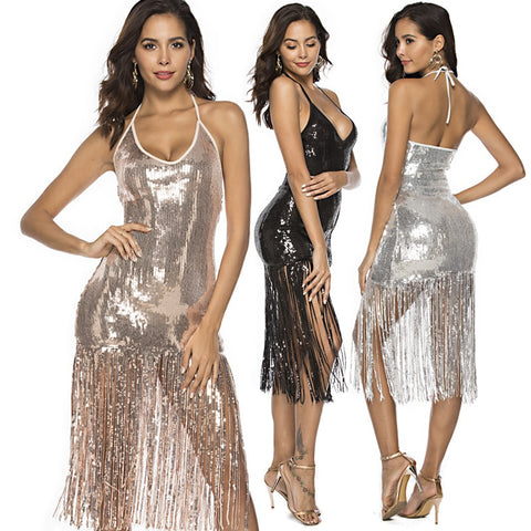 Throw It Up - Sparkling Sequined Halter V Neck Tassled Evening Dress