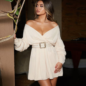 Made To Shine - Stunning Off Shoulder Long Puff Sleeve Dress