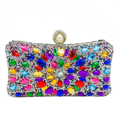 Taranto - Exquisite Multi Color Crystal Pearl Beaded Handbag Purse