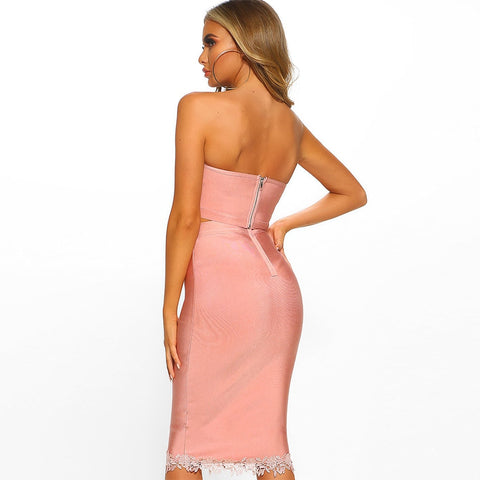 Angel's Delight - Sexy Strapless Bodycon Bandage 2 Piece Set