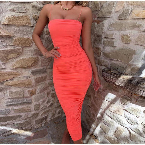 Party Hard - Ruched Tight Long Party Bodycon Dress