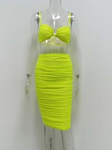 Image of Kozani - Stunning Ruched Mesh Crop Top/Skirt 2 Piece Evening Set