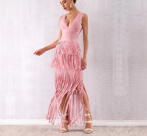 Amisos - Stunning Pink Fringe Deep V Neck Bandage Dress