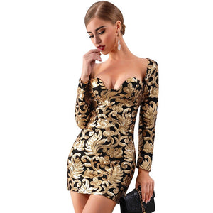 V.I.P - Sexy Long Sleeved Sequined Gold Mini Evening Dress
