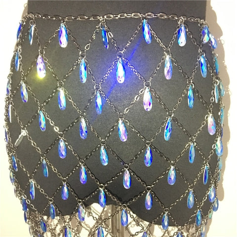 Image of Miruda - Sparkling Crystal Sequin Handmade Mini Skirt