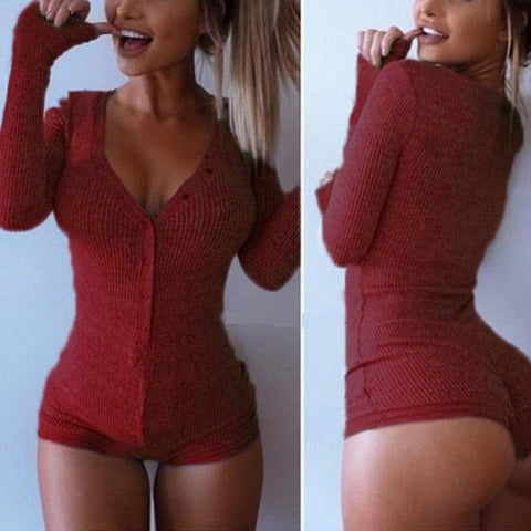 Image of Sexy Lady V Neck Long Sleeve Bodycon Jumpsuit