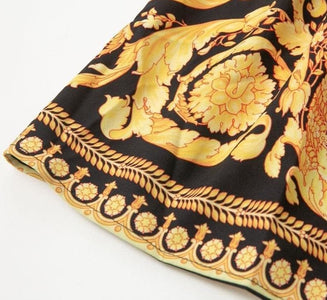 Cairo - Exquisite Gold Print Paisley Patterned Shirt Dress