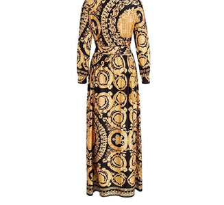 Roma Queen - Exquisite Golden Patterned Maxi Dress