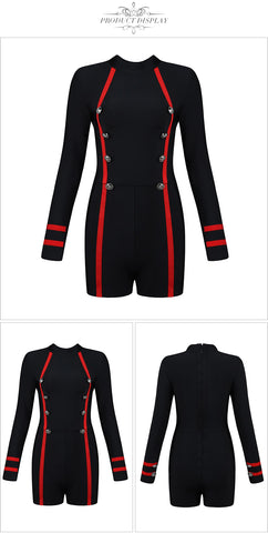 Military Range - Sexy Long Sleeved Luxury Buttoned Romper