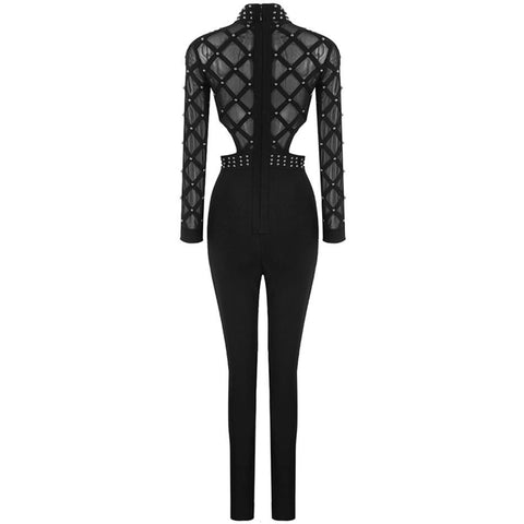 Stunning Hollow Out Beaded Bandage Luxury Jumpsuit