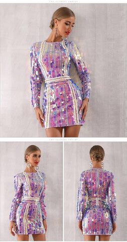 Technicolor Dream - Sexy Long Sleeved Sparkling Sequined Mini Club Dress