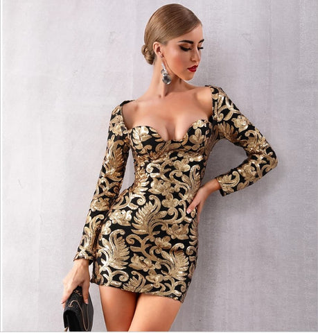 Image of V.I.P - Sexy Long Sleeved Sequined Gold Mini Evening Dress