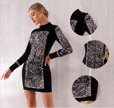 Karystos - Exquisite Sexy Black Sparkling Sequined Long Sleeved Luxury Mini Dress