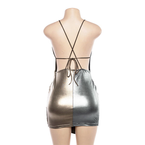 Sexy Reflective Spaghetti Strap Mini Wrap Dress