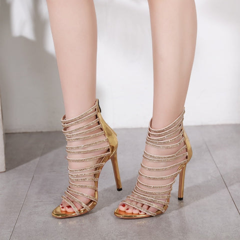 Image of Gladiator Queen - l Diamond Crystal High Thin Heeled Sandals