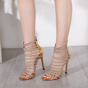 Gladiator Queen - l Diamond Crystal High Thin Heeled Sandals