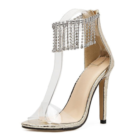 Queen Of Sheba - Sparkling Diamond Fringe Transparent Heels