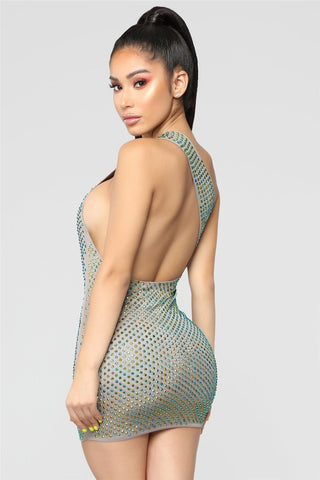 Paparazzi Range - Exquisite One Shoulder Sleeveless Glitzy Mini Dress
