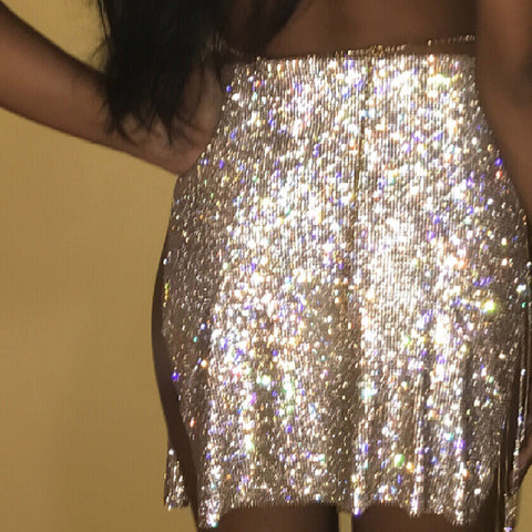 Queen Of The Night - Luxury Sparkling Rhinestone Chain Alloy Skirt