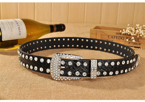 Rhinestones leopard print PU leather belt