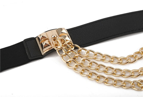 Image of Rivet Metal Gold Chain Waistband Belt