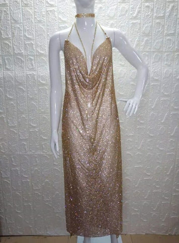 Sexy Rhinestone Maxi Dress