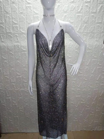 Lucille - Sexy Rhinestone Maxi Dress