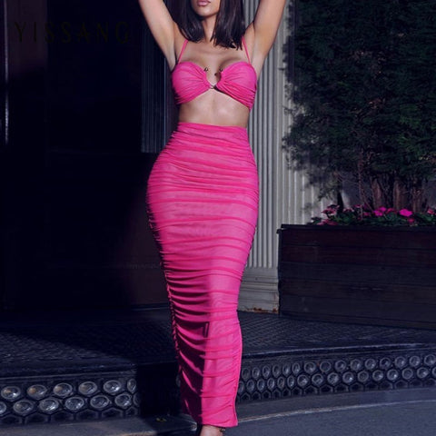 Kozani - Stunning Ruched Mesh Crop Top/Skirt 2 Piece Evening Set