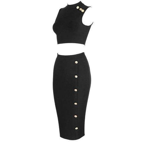 Military Range - Stunning Black Sleeveless 2 Piece Set