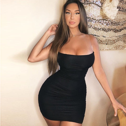 Vegas Ready - Sexy Slash Neck Short Ruched Bodycon Dress