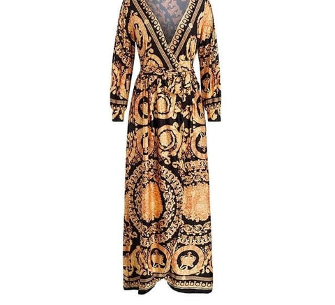Image of Roma Queen - Exquisite Golden Patterned Maxi Dress