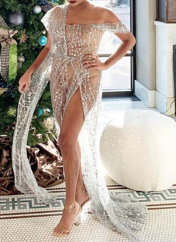Exquisite Strapless Sequined  Split Leg Silver Gown Maxi dress