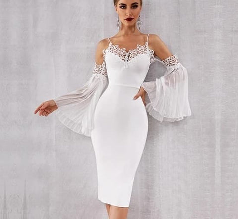 Swan Lake - Elegant Flared Sleeve White Lace Midi Dress