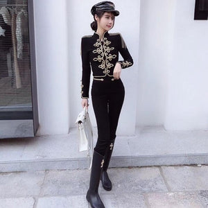 Military Range - Exquisite Tassel Top Gold Set With Pants