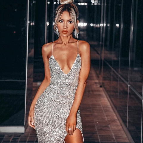 Sparkling Silver Sequined Celebrity Chic Evening Dress