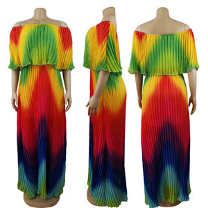 Reggae Vibes - Stunning Technicolor Pleated Maxi Dress