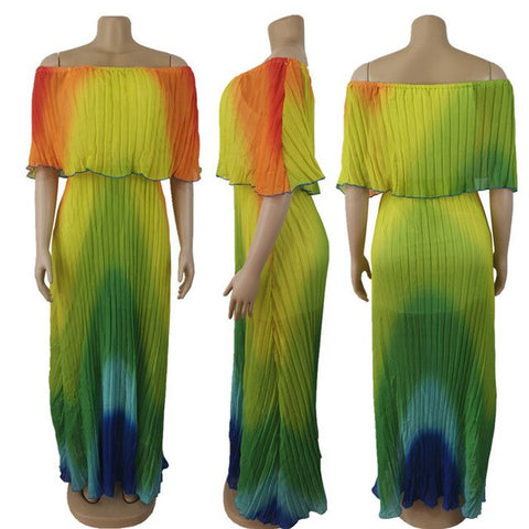 Image of Reggae Vibes - Stunning Technicolor Pleated Maxi Dress