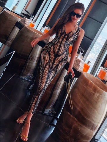 Dubail Life - Luxury V Neck Sleeveless Sequin Dress