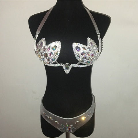 Havana Sunset - Stunning Diamond Sequined Push Up Bikini Set