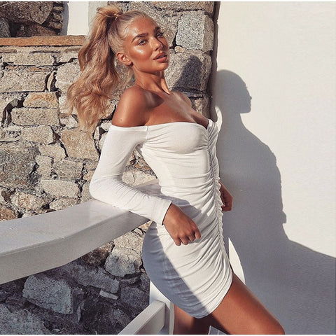 Jeddah - Stunning Off Shoulder Ruched Bodycon Party Dress