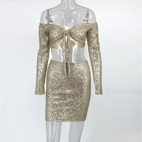 Dazzling Off Shoulder Gold Sequined 2 Piece Dress