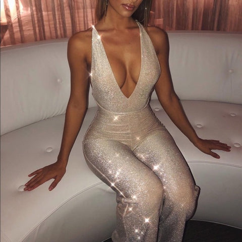 Image of Spaghetti Strap Sparkling Long Jumpsuit