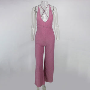 Spaghetti Strap Sparkling Long Jumpsuit