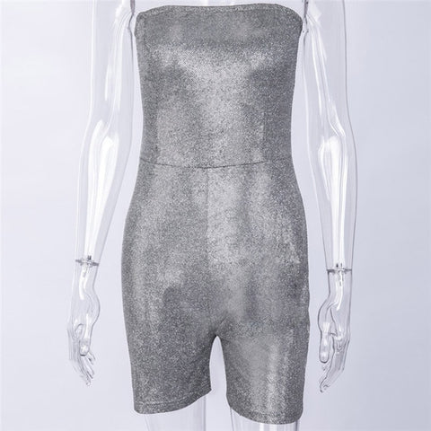 Image of Julienne - Dazzling Silver Strapless Bodycon Jumsuit