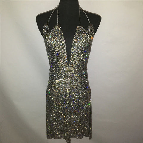 Exquisite Dazzling V Neck Party Dress
