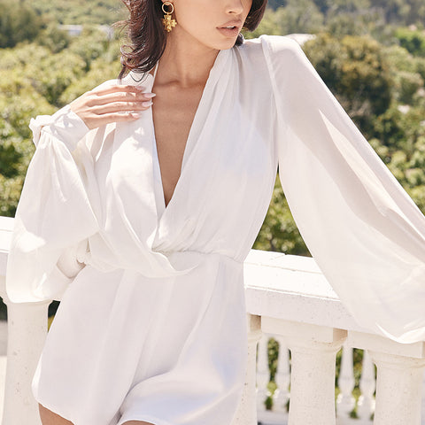 Stunning White Deep V Neck Luxury Romper