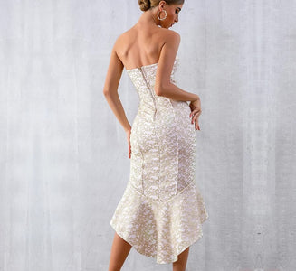 Crystal Glory - Exquisite Strapless Mermaid Maxi Dress
