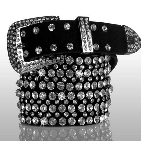 Glitzy Studded Leather Belt